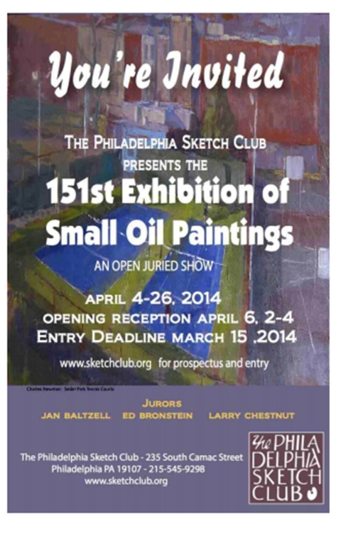 Philadelphia Sketch Club Call for Entries – Small Oils